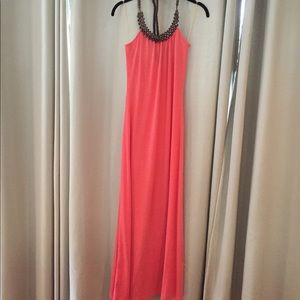 HP 🎉🎉 - Long Coral Dress With Beaded Neckline